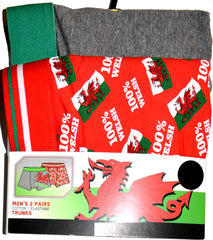 Wales 2 Pack Pants Mens 100% Welsh Dragon Cymru Boxer Underwear UK Sizes M or L