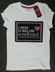 PRIMARK Girls T-SHIRT 'I Wish It Was The Weekend' With Heart Logo Sizes 7 - 13 Years - Click. Buy. Love. - 1
