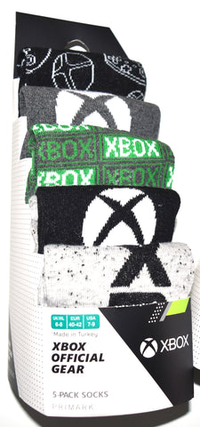 Xbox Socks Primark X Box Gamer Mens 5 Pack UK Sizes 6 to 8 or 9 to 12