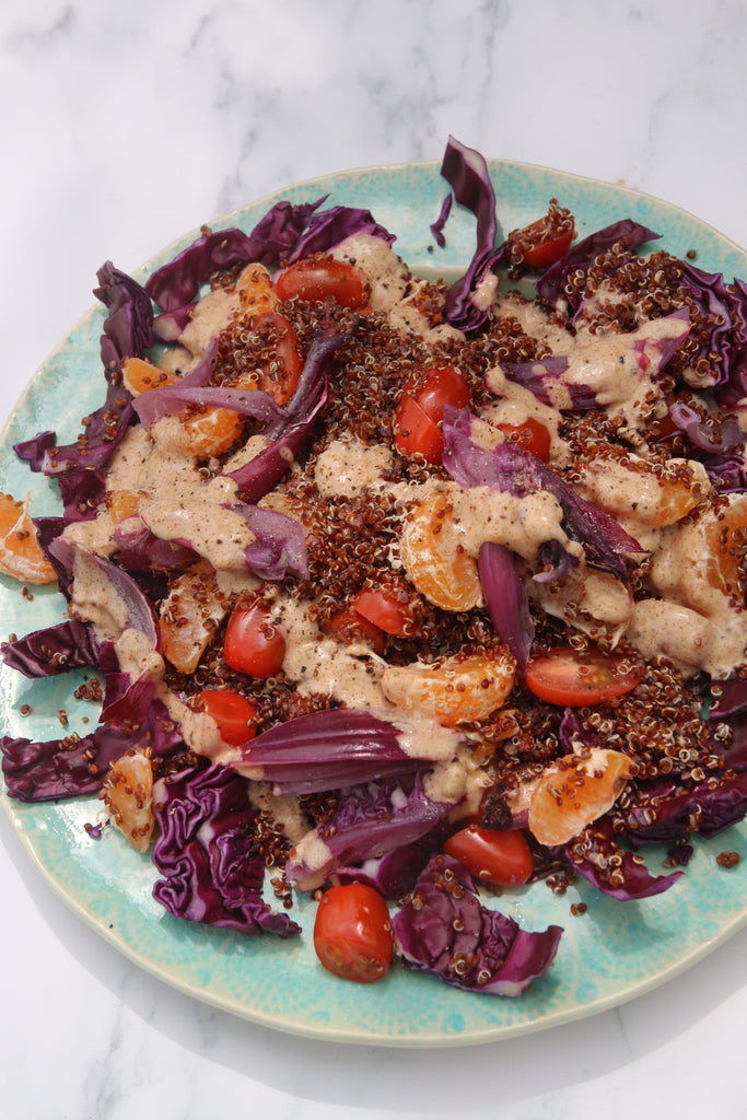 Red Cabbage, Red Quinoa, Satsuma Salad with Almond Butter Dressing #CErecipes