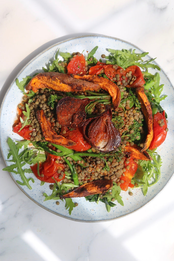 Paprika and Honey roasted Red Onion, Sweet Potato, Broccoli and Lentil Salad #CErecipes