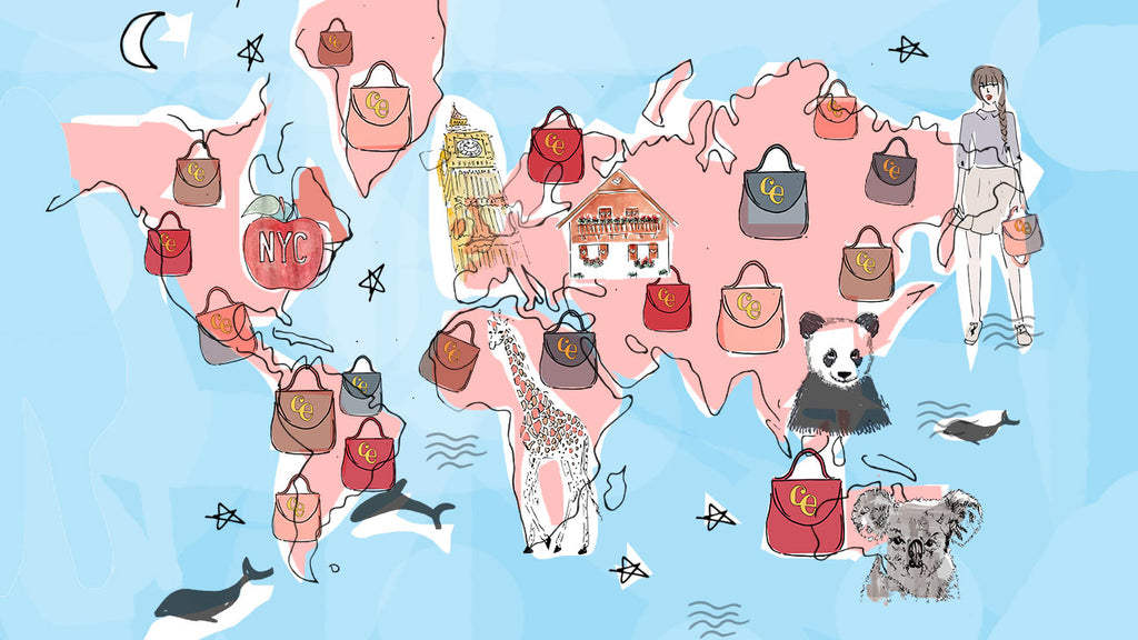 charlotte elizabeth illustrated map with countries that we have sold handbags to
