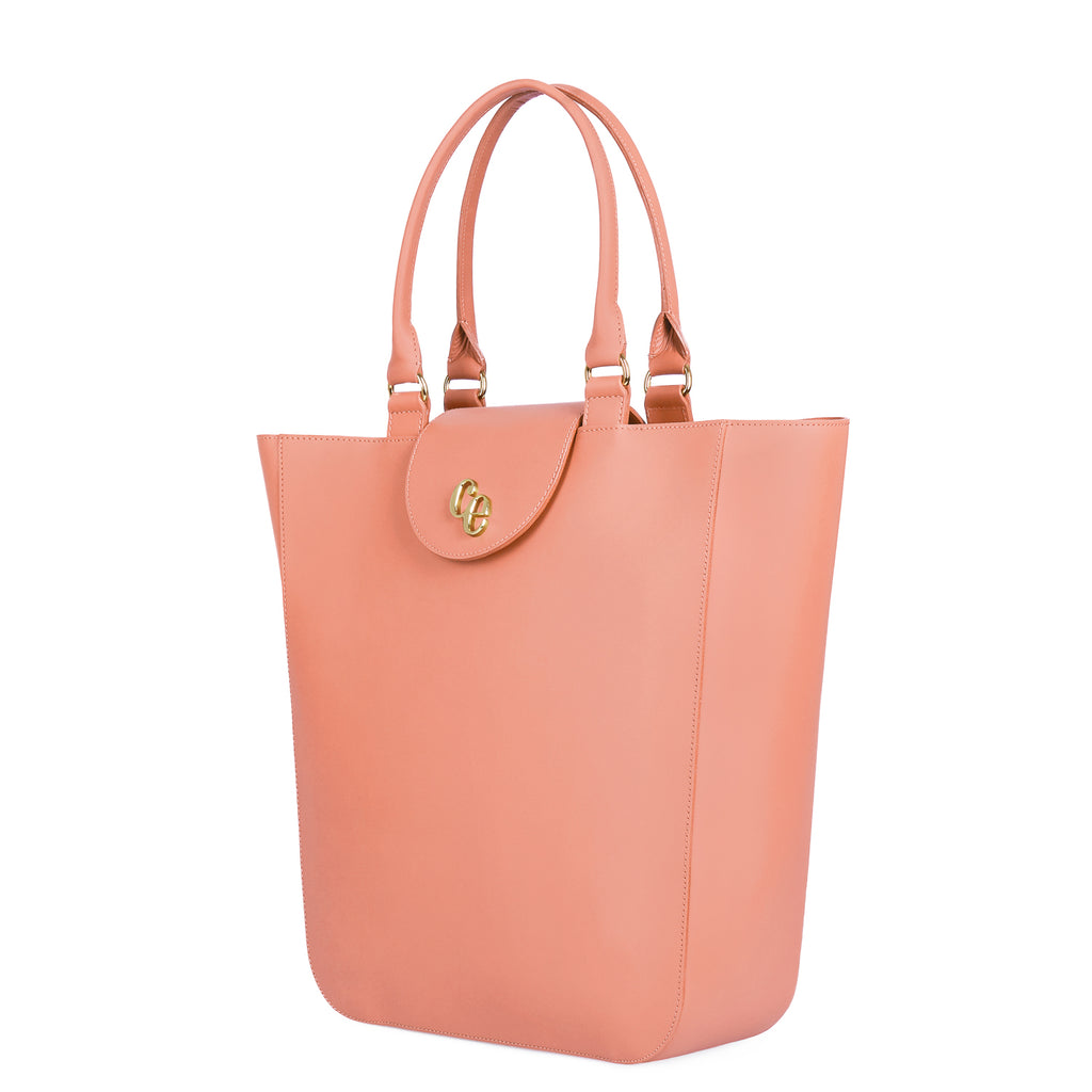 The Emma in Shrimp-Handbags-Luxury Leather Laptop British Tote Bag-Charlotte Elizabeth