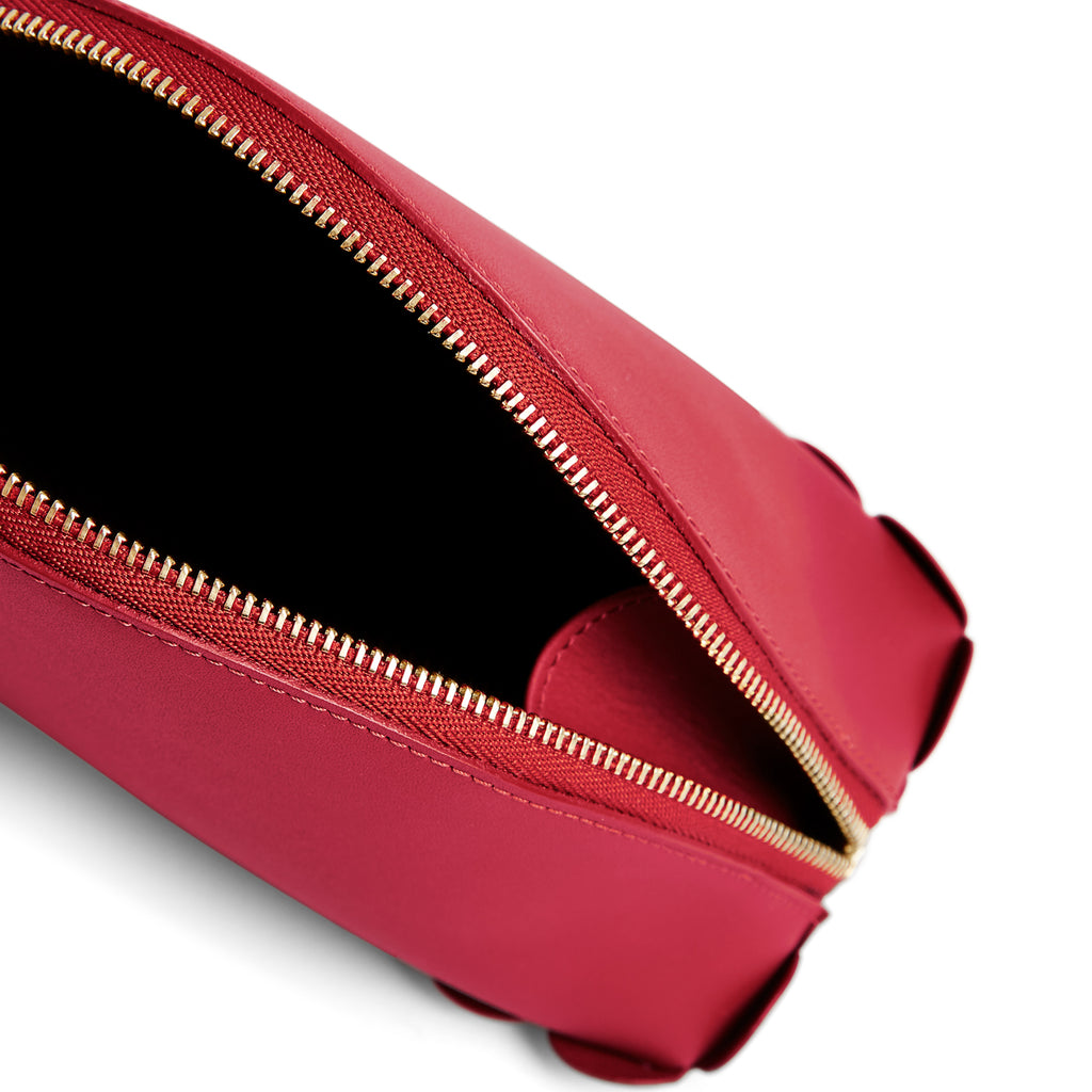 Scallop Cosmetic Pouch in Rhubarb-accessories-leather make up bag luxury ladies purse british-Charlotte Elizabeth