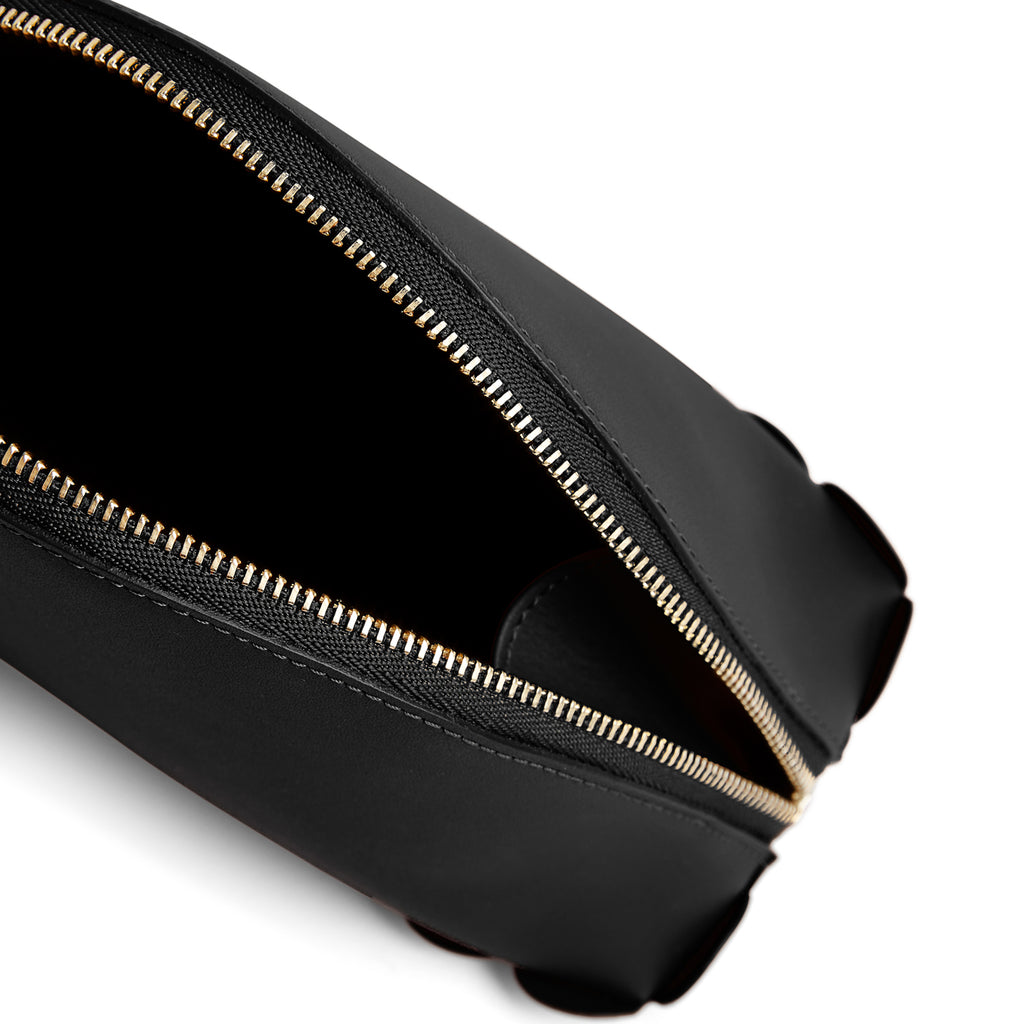 Scallop Cosmetic Pouch in Black-accessories-leather make up bag luxury ladies purse british-Charlotte Elizabeth