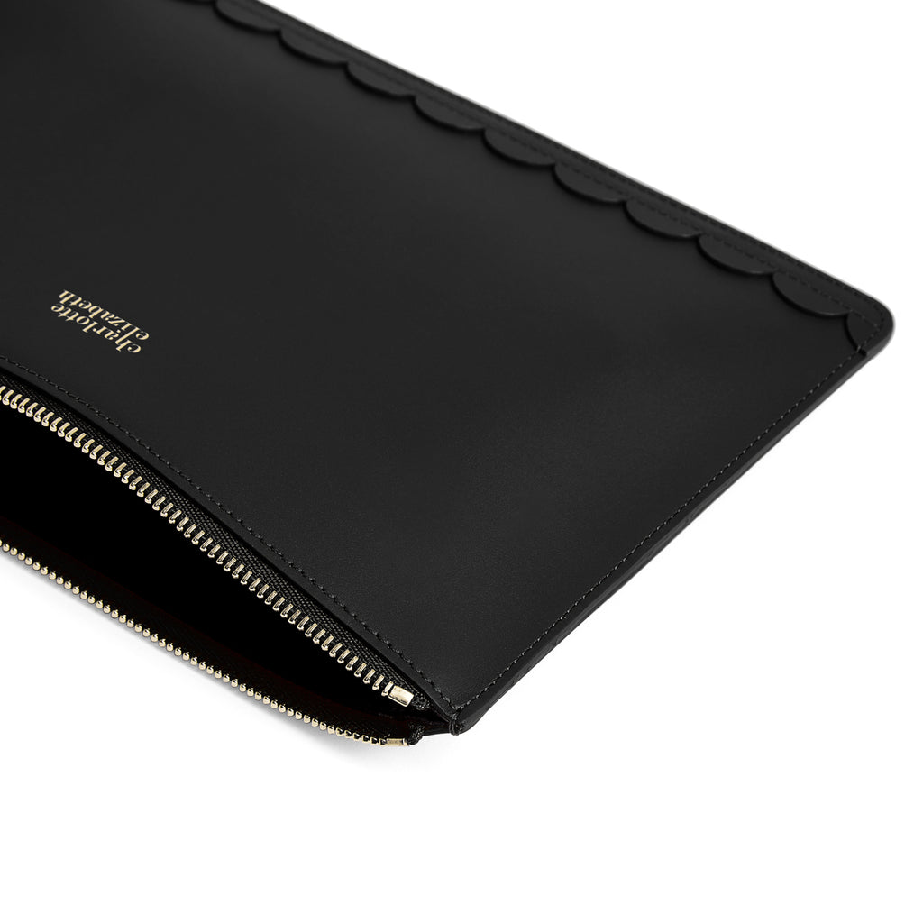 Scallop Travel Wallet in Black - Charlotte Elizabeth