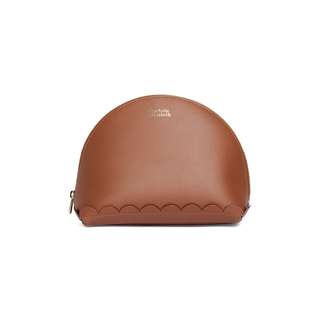 Ladies Make up holder pouch zip lock gold in chestnut tan brown leather