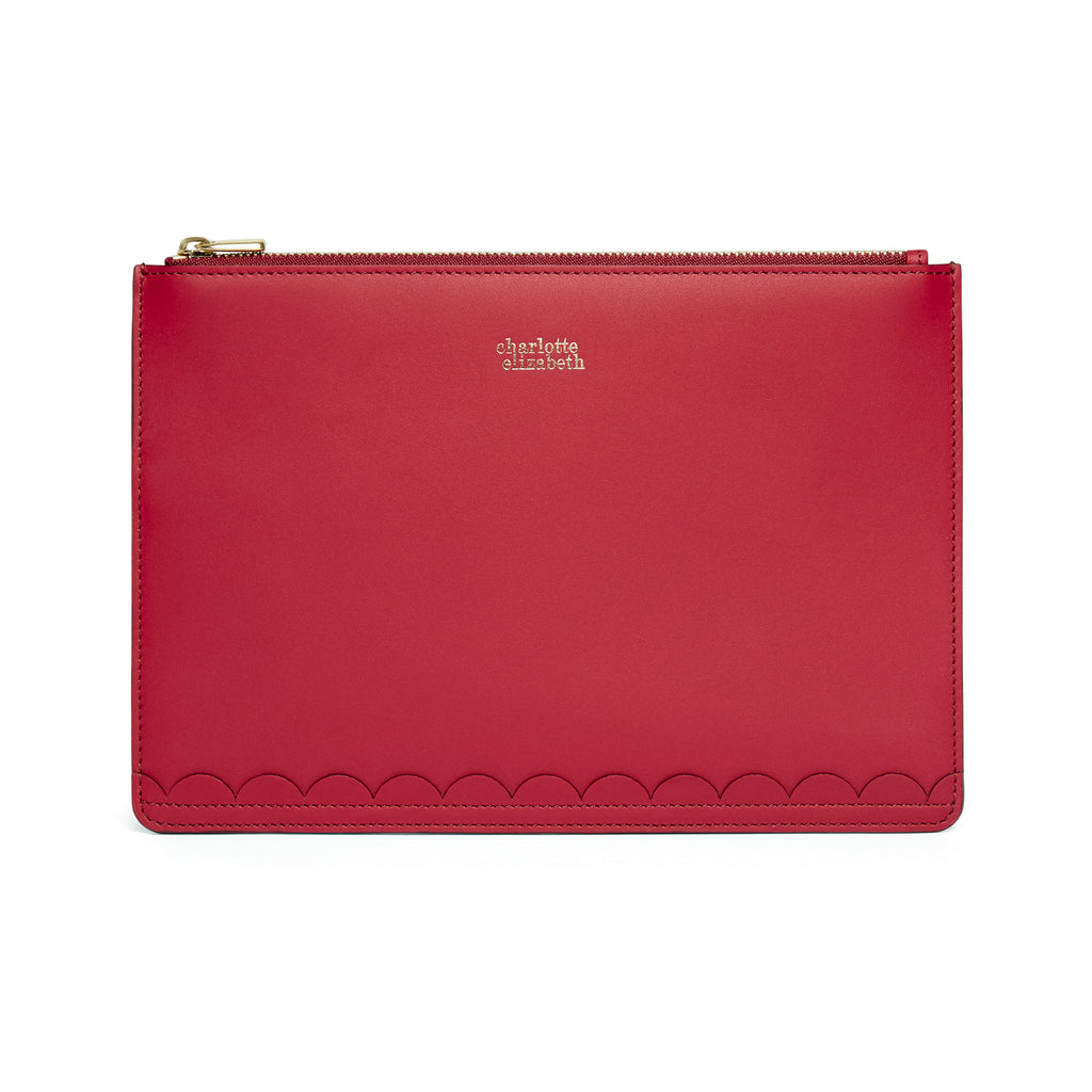 Scallop Travel Wallet in Rhubarb