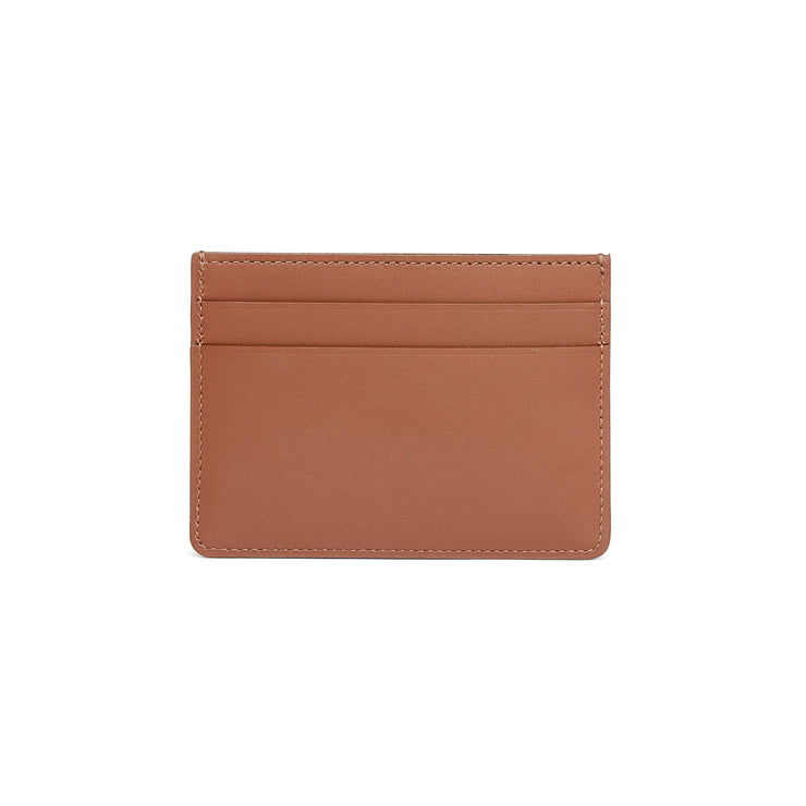 Scallop Card Holder in Chestnut-accessories-luxury ladies wallet slim pocket cards british-Charlotte Elizabeth