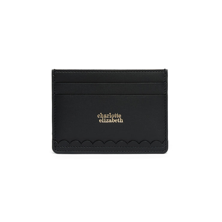 Scallop Card Holder in Black-accessories-luxury ladies wallet slim pocket cards british-Charlotte Elizabeth