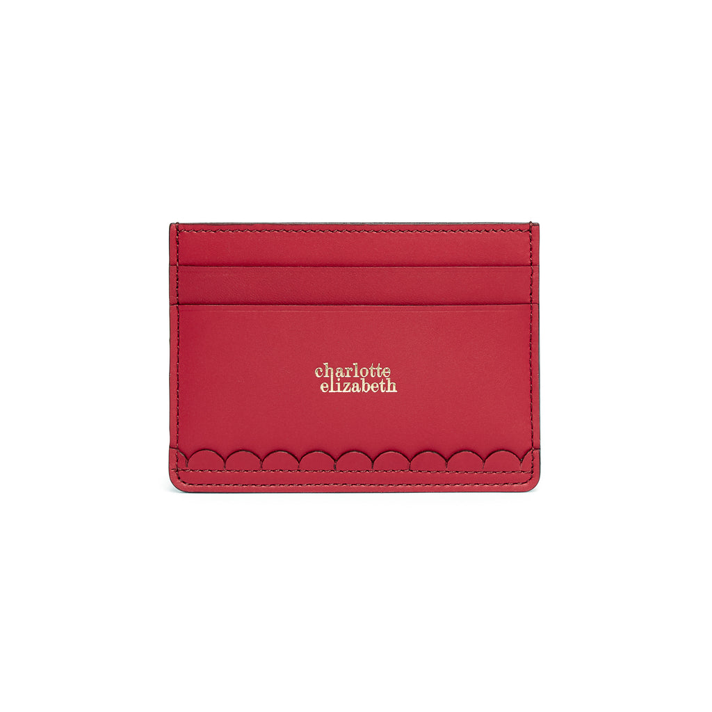Hand cut scallop detail edge card holder wallet ladies leather red