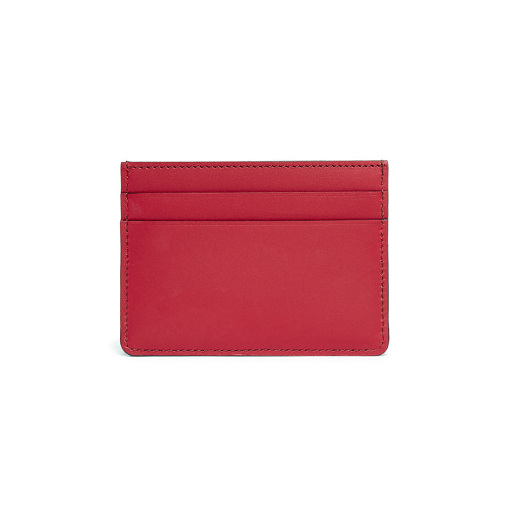 Scallop Card Holder in Rhubarb-accessories-luxury ladies wallet slim pocket cards british-Charlotte Elizabeth