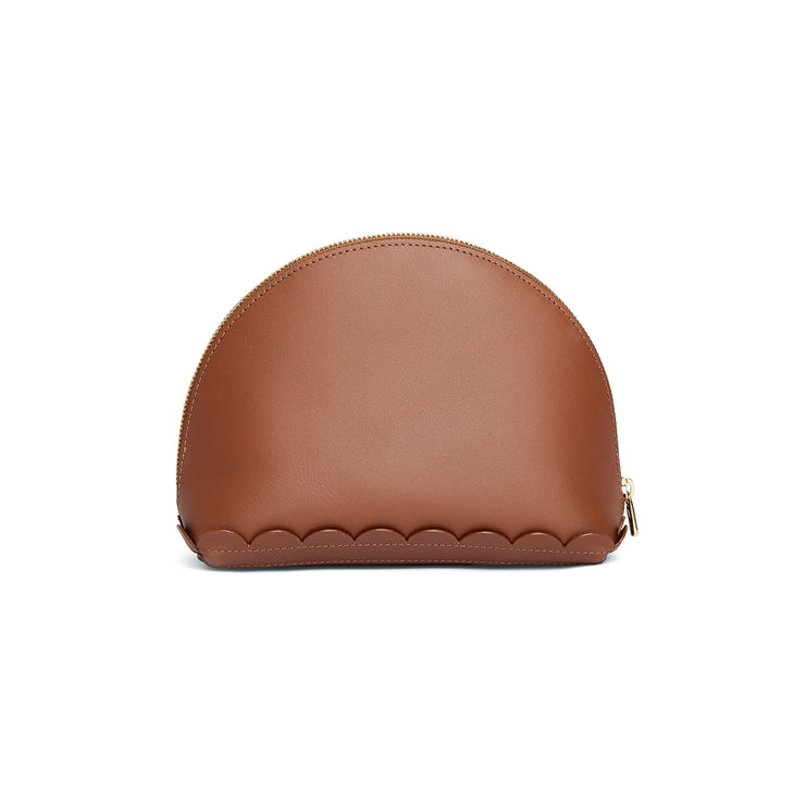 Scallop Cosmetic Pouch in Chestnut-accessories-leather make up bag luxury ladies purse british-Charlotte Elizabeth