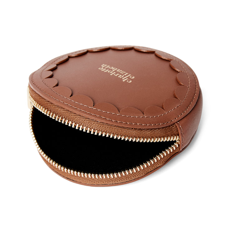 Scallop Coin Purse in Chestnut-accessories-luxury wallet pouch facemask airpod holder-Charlotte Elizabeth