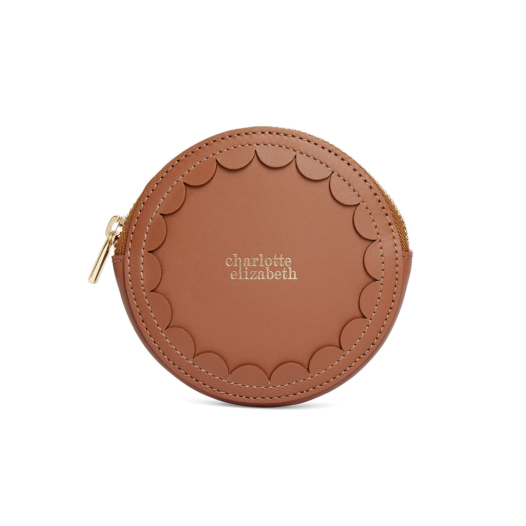 Scallop Coin Purse in Chestnut - Charlotte Elizabeth
