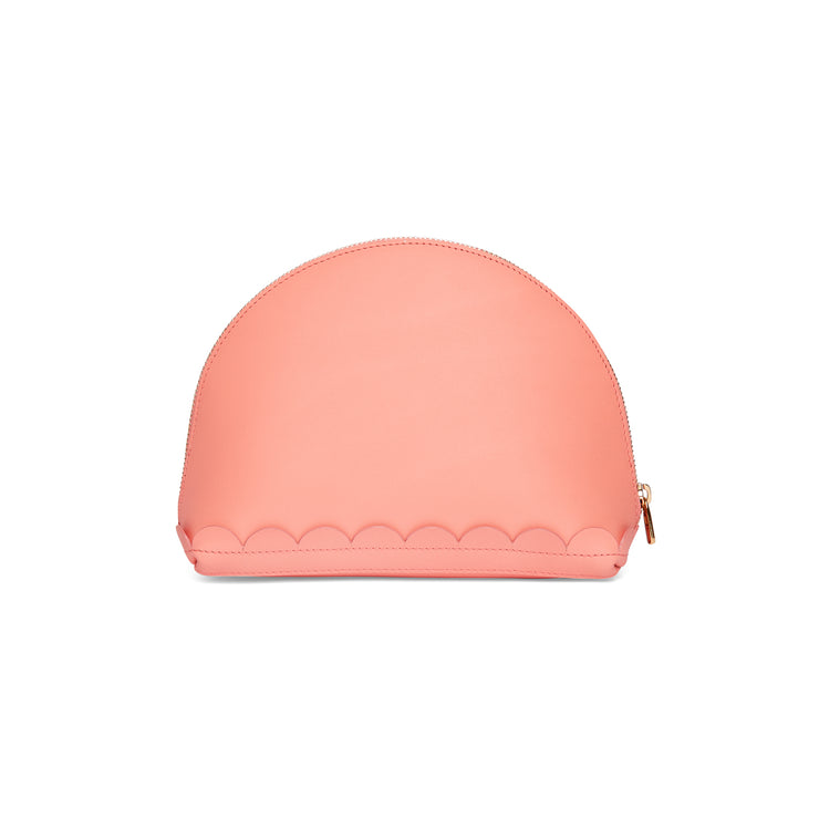 Scallop Cosmetic Pouch in Shrimp-accessories-leather make up bag luxury ladies purse british-Charlotte Elizabeth