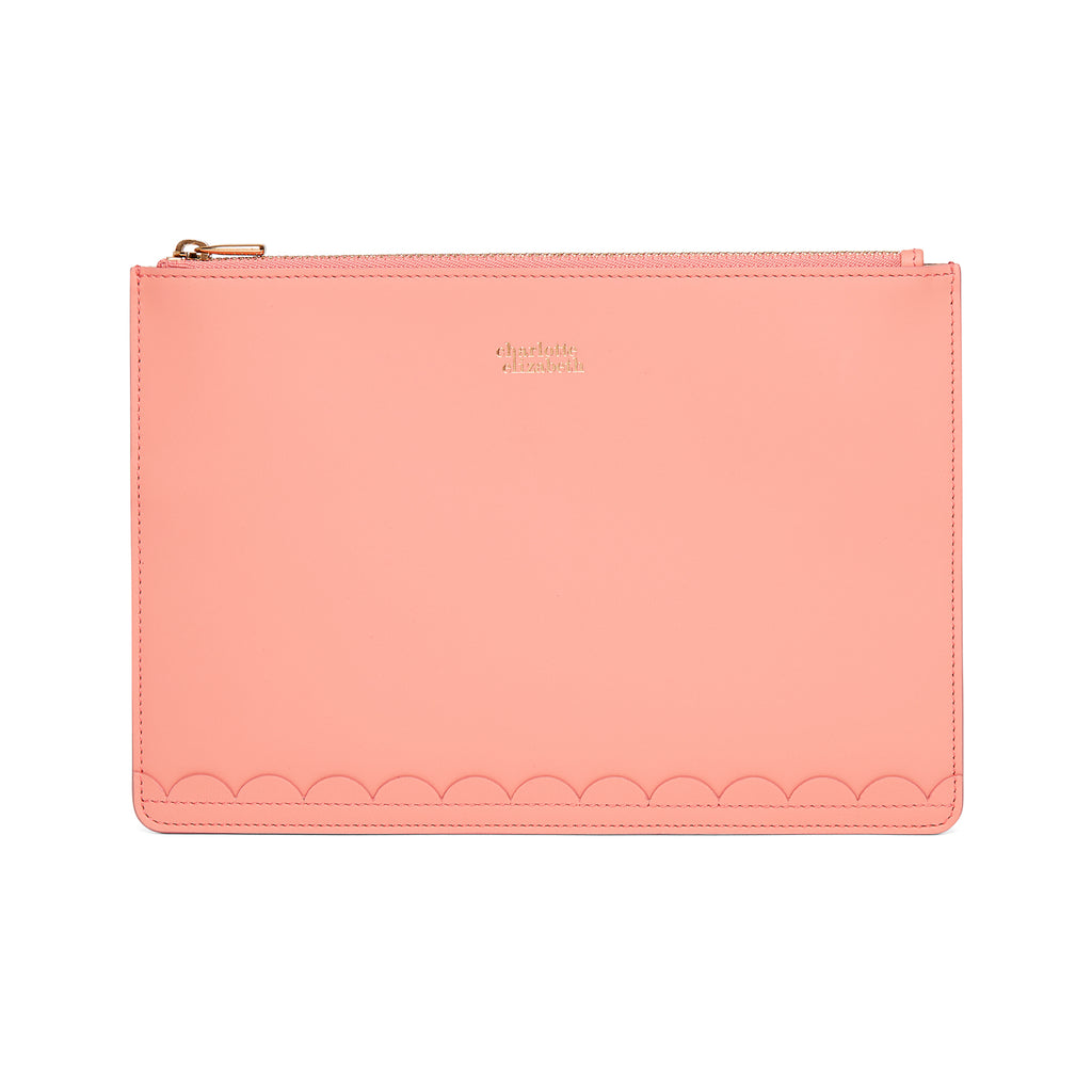 Scallop Travel Wallet in Shrimp - Charlotte Elizabeth