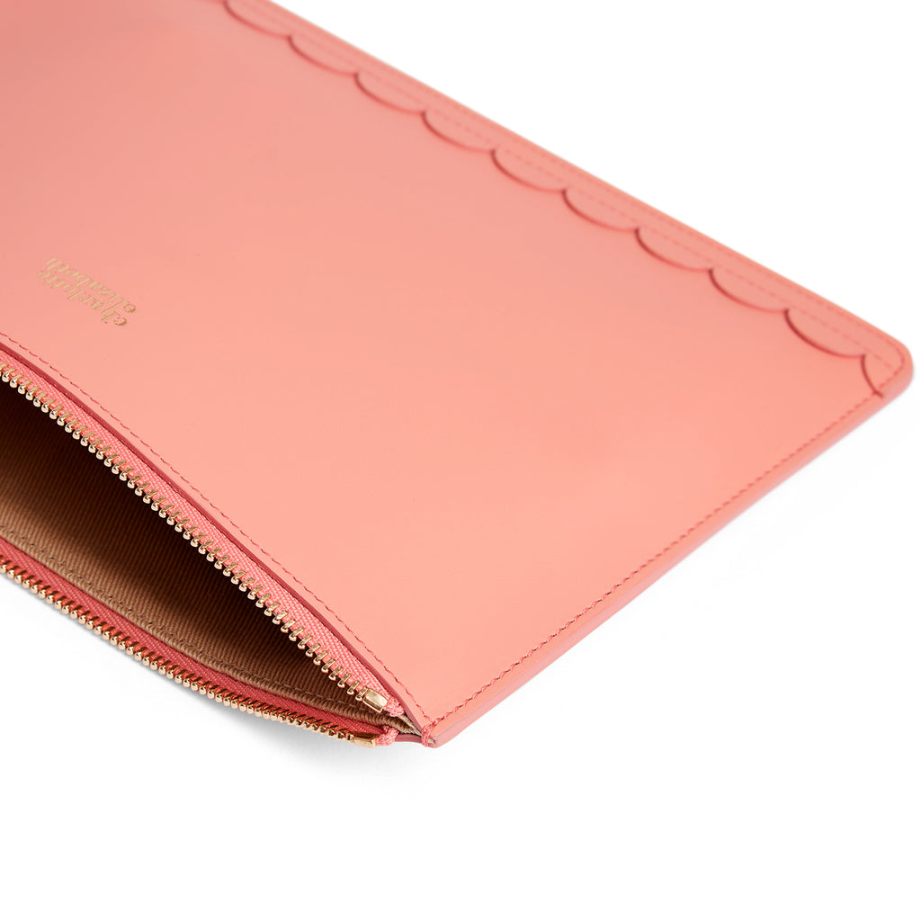 Scallop Travel Wallet in Shrimp