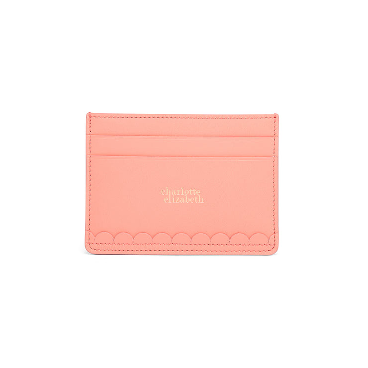 Scallop Card Holder in Shrimp-accessories-luxury ladies wallet slim pocket cards british-Charlotte Elizabeth