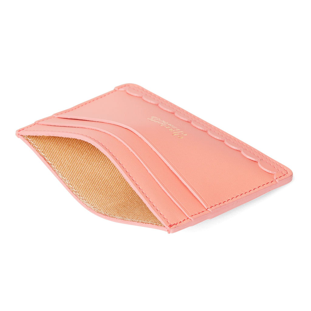 Scallop Card Holder in Shrimp - Charlotte Elizabeth