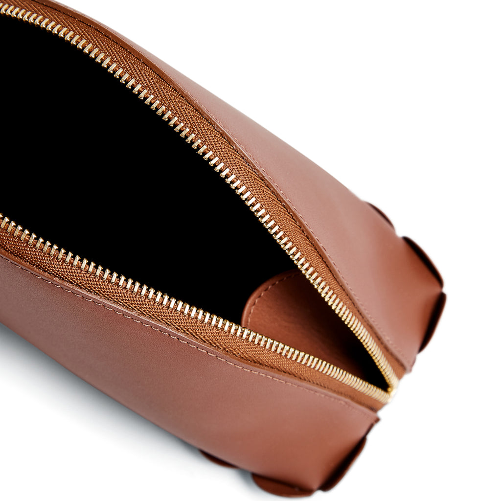 Scallop Cosmetic Pouch in Chestnut - Charlotte Elizabeth