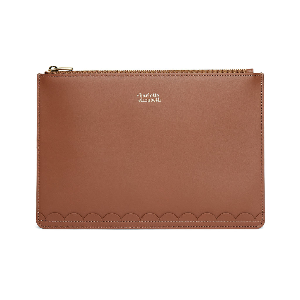 Scallop Mini Clutch in Chestnut-accessories-leather wallet documents passport travel luxury british-Charlotte Elizabeth