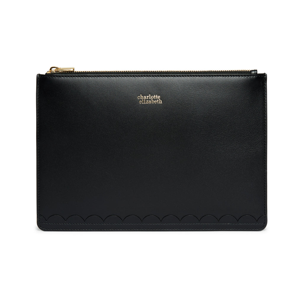 Scallop Mini Clutch in Black-accessories-leather wallet documents passport travel luxury british-Charlotte Elizabeth