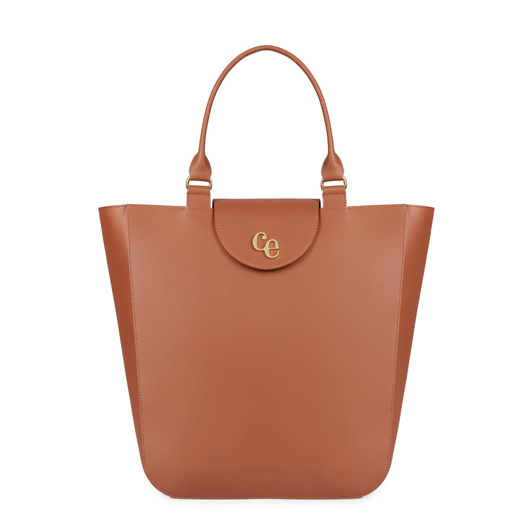 The Emma in Chestnut-Handbags-Luxury Leather Laptop British Tote Bag-Charlotte Elizabeth