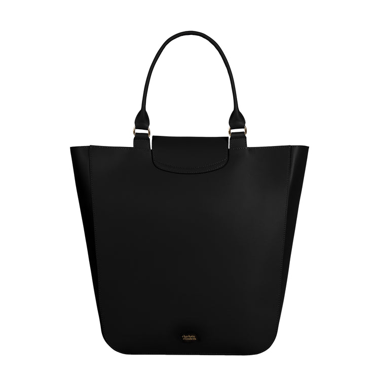 The Emma in Black-Handbags-Luxury Leather Laptop British Tote Bag-Charlotte Elizabeth