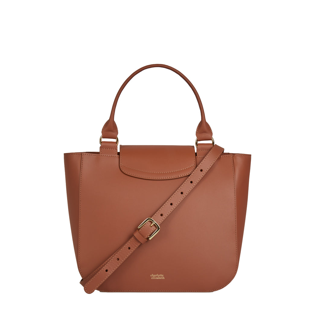 The Alicia in Chestnut-Handbags-crossbody luxury leather british ladies purse-Charlotte Elizabeth