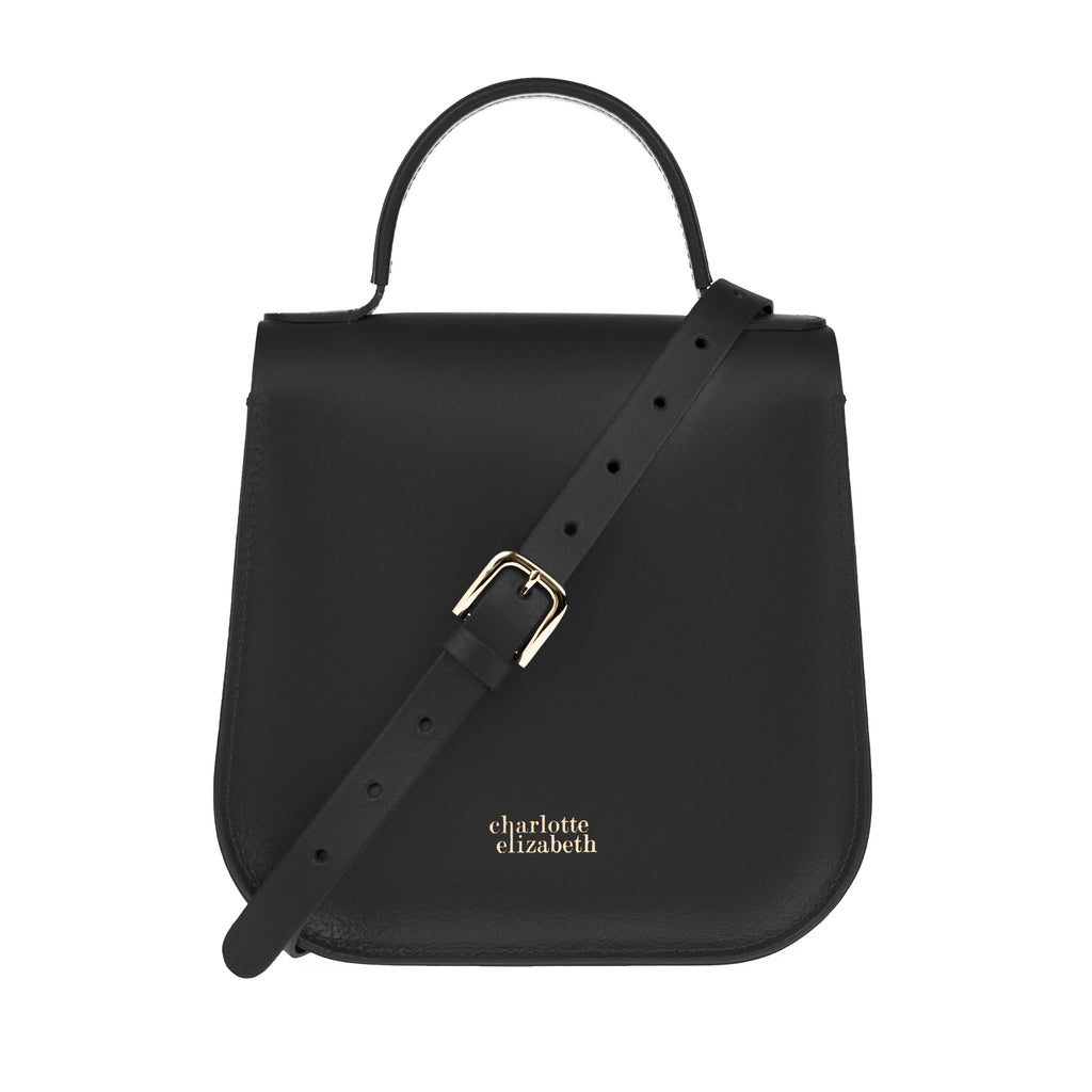 Black Bag with Adjustable Strap Satchel Leather