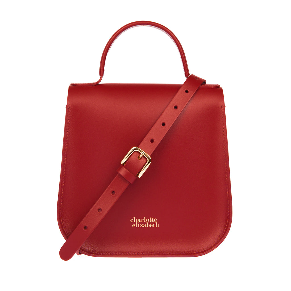 Hand crafted british leather satchel handbag red