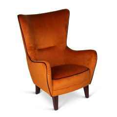Romeo Velvet Burnt Orange Chair