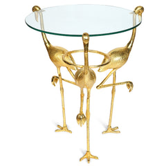 Flamingo Glass Top Side Table