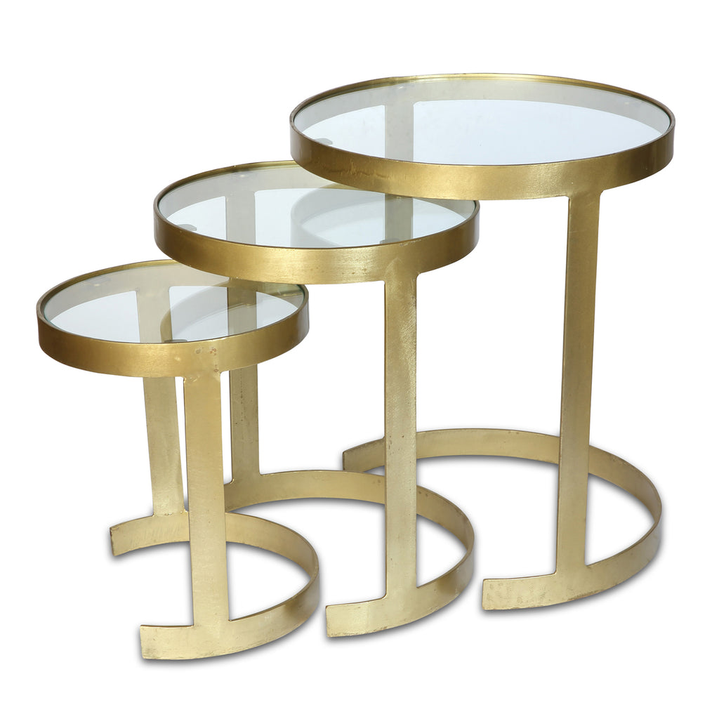Nest of Three Zeta Glass Topped Tables