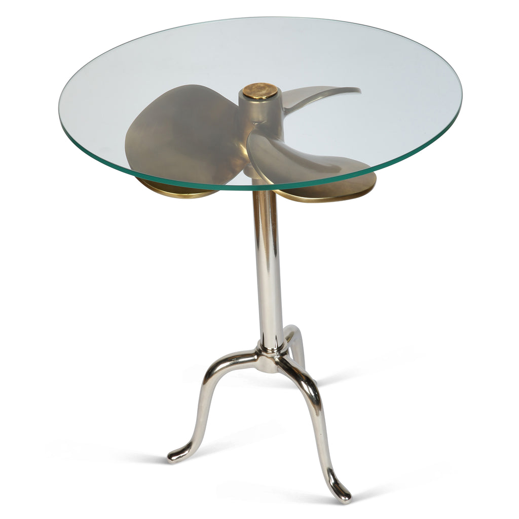 Propeller Antique Brass and Nickel Side Table