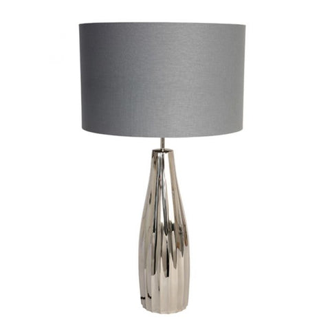Fluted Table Lamp With Grey Shade