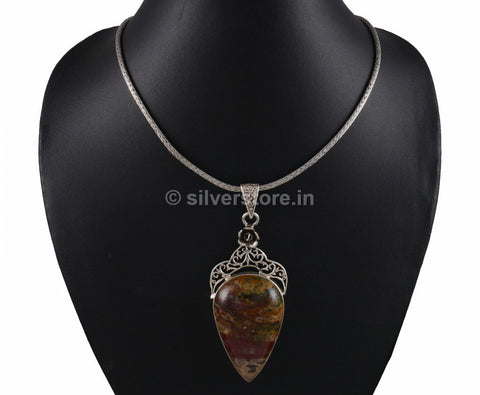 Silver Brown Onyx  Pendant with chain