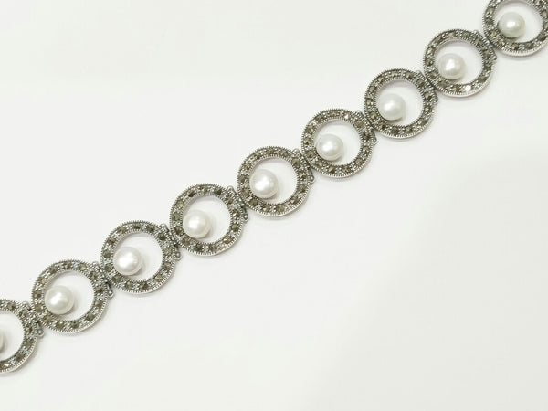 Silver Pearl Marker Bracelets for Women