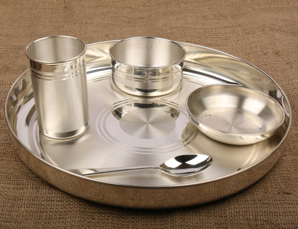 Silver Dinner Set / Thali Set with 990 BIS Hallmark