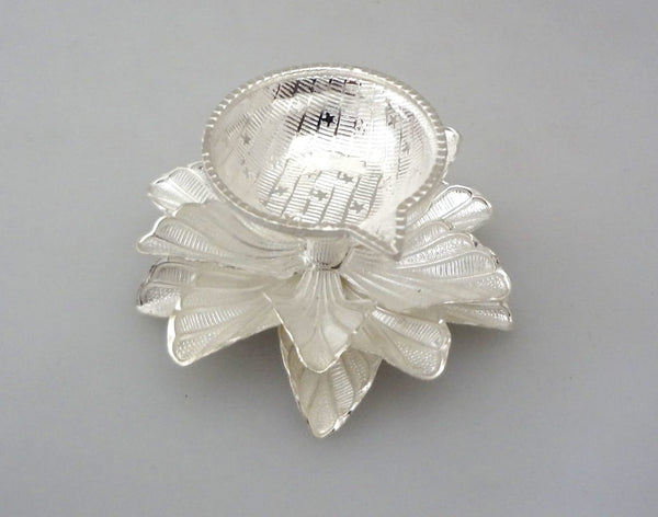Silver Diya - Rose Mallow Pattern - 925 Pure Silver