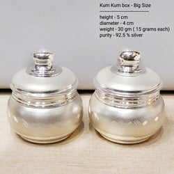 Silver Kum Kum Box - Big Size - Pack of 2