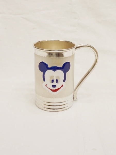 Silver Coffee Mug For Baby - Blue Mickey - 925 Silver