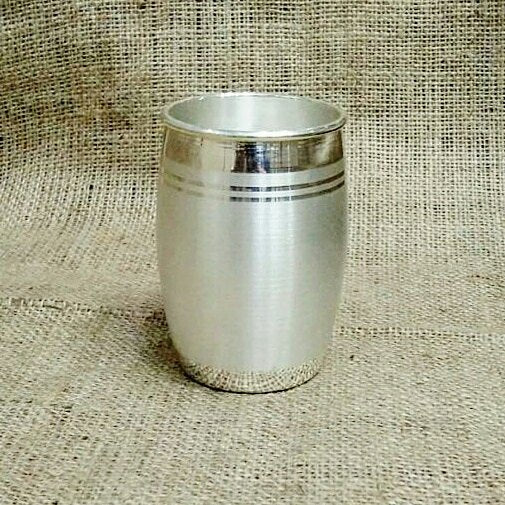 Pure Silver Glass - Dholak Pattern With BIS Hallmark