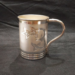 Flower Designed Silver Coffee Mug - 925 BIS Hallmark