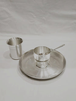"Silver Dinner Set for Baby - 990 Bis Hallmarked - 9"" size."