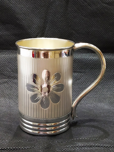 Silver Coffee Mugs - Flower Design