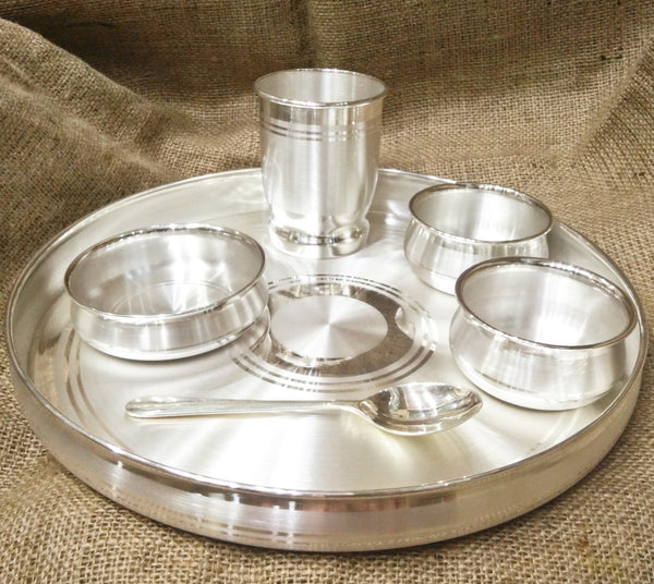 999 Pure Silver Dinner Set / Thali Set - Ashapura Pattern With BIS Hallmark