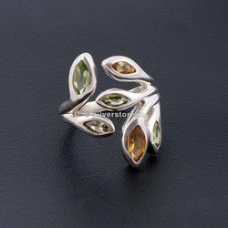 Designer Silver Ring - Multi-Colour Semi Precious Stones