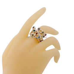 925 Silver Multi-Colour Stone Designer Ring